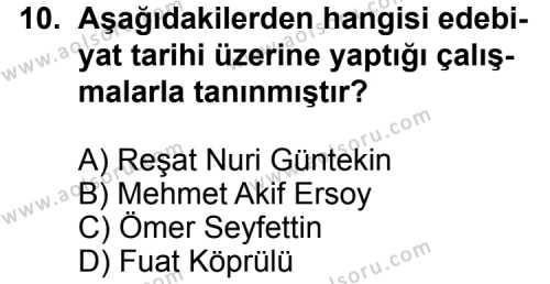 Türk Edebiyatı 6 Dersi 2011-2012 Yılı 1. Dönem Sınavı 10. Soru