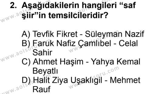 Türk Edebiyatı 6 Dersi 2011 - 2012 Yılı Ek Sınav Soruları 2. Soru