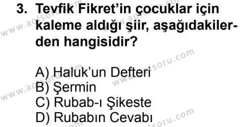 Türk Edebiyatı 6 Dersi 2011 - 2012 Yılı Ek Sınav Soruları 3. Soru