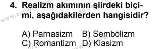 Türk Edebiyatı 6 Dersi 2011 - 2012 Yılı Ek Sınav Soruları 4. Soru