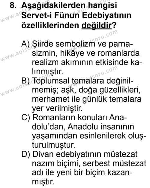 Türk Edebiyatı 6 Dersi 2012-2013 Yılı 1. Dönem Sınavı 8. Soru