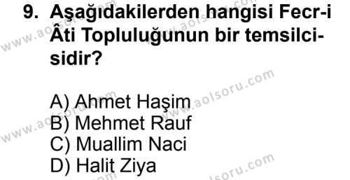 Türk Edebiyatı 6 Dersi 2013-2014 Yılı 1. Dönem Sınavı 9. Soru