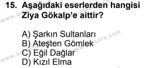 Türk Edebiyatı 6 Dersi 2013-2014 Yılı 1. Dönem Sınavı 15. Soru