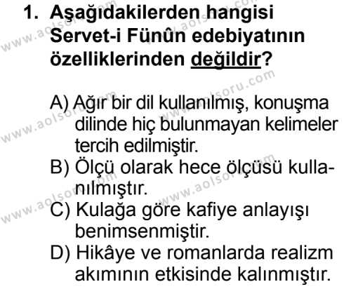 Türk Edebiyatı 6 Dersi 2013 - 2014 Yılı 3. Dönem Sınav Soruları 1. Soru