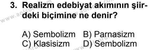 Türk Edebiyatı 6 Dersi 2013 - 2014 Yılı 3. Dönem Sınav Soruları 3. Soru