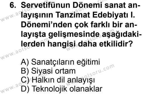 Türk Edebiyatı 6 Dersi 2014-2015 Yılı 1. Dönem Sınavı 6. Soru