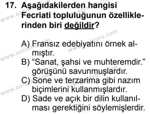 Türk Edebiyatı 6 Dersi 2014-2015 Yılı 1. Dönem Sınavı 17. Soru