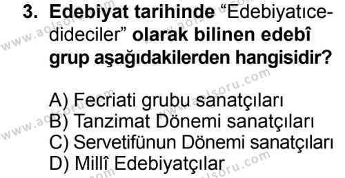 Türk Edebiyatı 6 Dersi 2014 - 2015 Yılı Ek Sınav Soruları 3. Soru