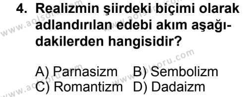 Türk Edebiyatı 6 Dersi 2014 - 2015 Yılı Ek Sınav Soruları 4. Soru