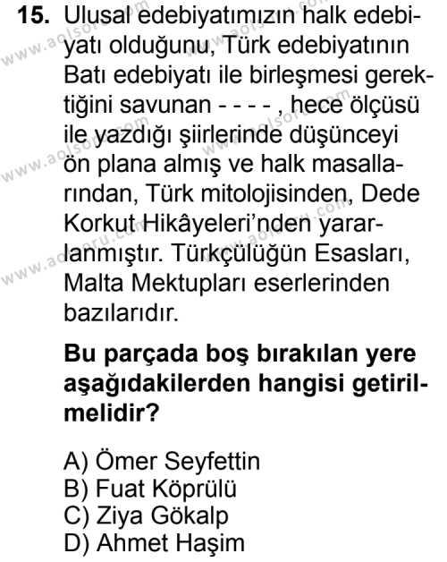 Türk Edebiyatı 6 Dersi 2015-2016 Yılı 1. Dönem Sınavı 15. Soru