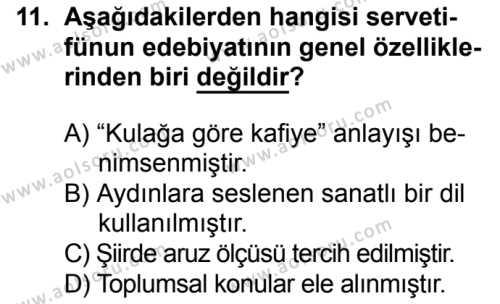 Türk Edebiyatı 6 Dersi 2016-2017 Yılı 1. Dönem Sınavı 11. Soru
