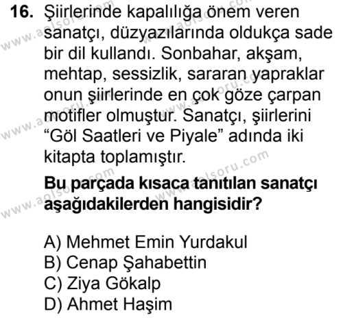 Türk Edebiyatı 6 Dersi 2016-2017 Yılı 1. Dönem Sınavı 16. Soru