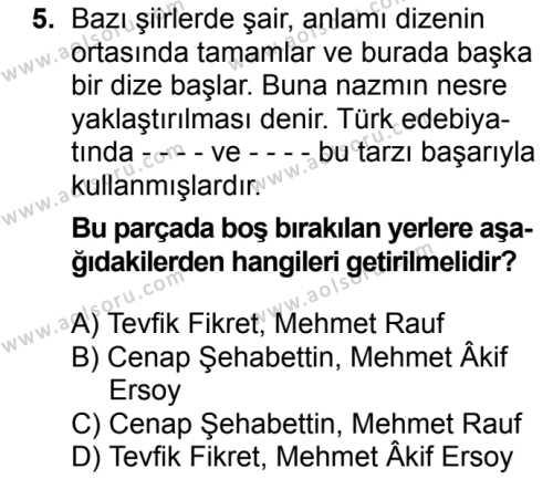Türk Edebiyatı 6 Dersi 2017-2018 Yılı 1. Dönem Sınavı 5. Soru