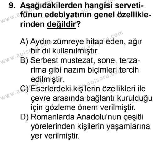 Türk Edebiyatı 6 Dersi 2017-2018 Yılı 1. Dönem Sınavı 9. Soru