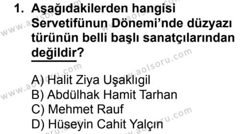 Türk Edebiyatı 6 Dersi 2017 - 2018 Yılı 2. Dönem Sınavı 1. Soru