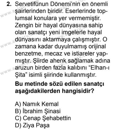 Türk Edebiyatı 6 Dersi 2017 - 2018 Yılı 2. Dönem Sınavı 2. Soru