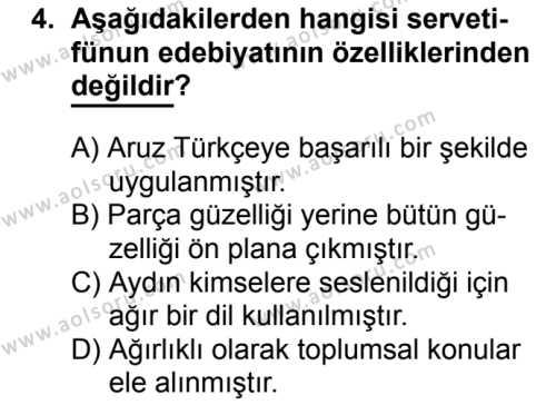 Türk Edebiyatı 6 Dersi 2017 - 2018 Yılı 2. Dönem Sınavı 4. Soru