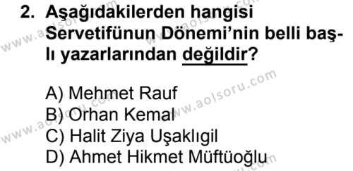 Türk Edebiyatı 6 Dersi 2017 - 2018 Yılı Ek Sınavı 2. Soru