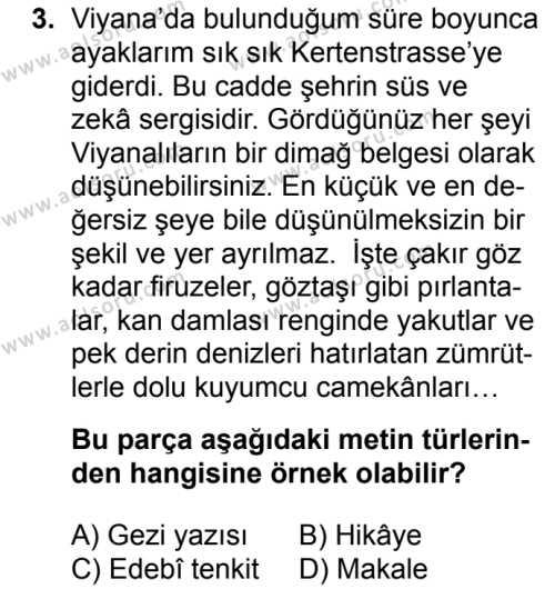 Türk Edebiyatı 6 Dersi 2017 - 2018 Yılı Ek Sınavı 3. Soru