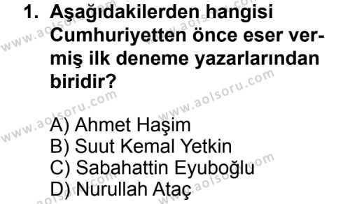 Türk Edebiyatı 7 Dersi 2011-2012 Yılı 1. Dönem Sınavı 1. Soru