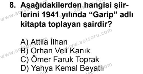 Türk Edebiyatı 7 Dersi 2011-2012 Yılı 1. Dönem Sınavı 8. Soru