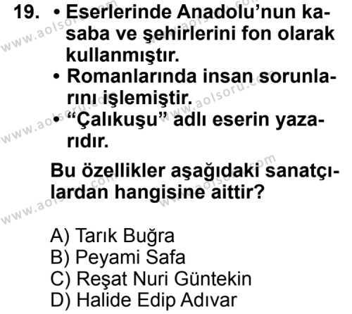 Türk Edebiyatı 7 Dersi 2011-2012 Yılı 1. Dönem Sınavı 19. Soru