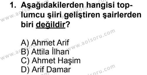 Türk Edebiyatı 7 Dersi 2011 - 2012 Yılı Ek Sınavı 1. Soru
