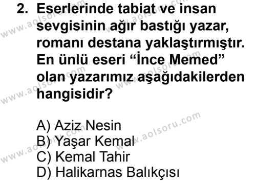 Türk Edebiyatı 7 Dersi 2011 - 2012 Yılı Ek Sınavı 2. Soru