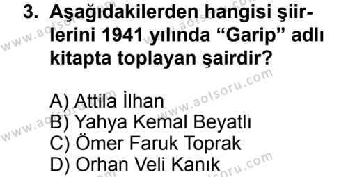 Türk Edebiyatı 7 Dersi 2011 - 2012 Yılı Ek Sınavı 3. Soru