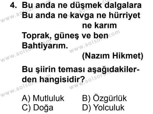 Türk Edebiyatı 7 Dersi 2011 - 2012 Yılı Ek Sınavı 4. Soru