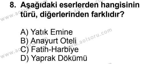 Türk Edebiyatı 7 Dersi 2012-2013 Yılı 1. Dönem Sınavı 8. Soru