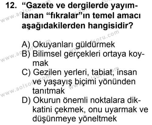 Türk Edebiyatı 7 Dersi 2012-2013 Yılı 1. Dönem Sınavı 12. Soru
