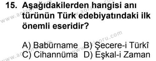 Türk Edebiyatı 7 Dersi 2013-2014 Yılı 1. Dönem Sınavı 15. Soru