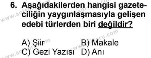 Türk Edebiyatı 7 Dersi 2014-2015 Yılı 1. Dönem Sınavı 6. Soru