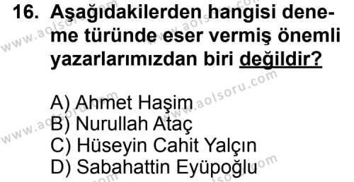 Türk Edebiyatı 7 Dersi 2014-2015 Yılı 1. Dönem Sınavı 16. Soru
