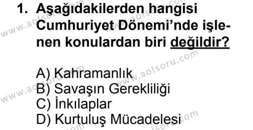 Türk Edebiyatı 7 Dersi 2014 - 2015 Yılı Ek Sınav Soruları 1. Soru
