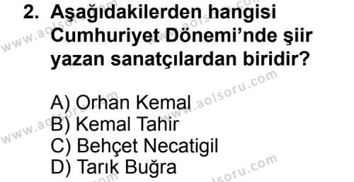 Türk Edebiyatı 7 Dersi 2014 - 2015 Yılı Ek Sınav Soruları 2. Soru