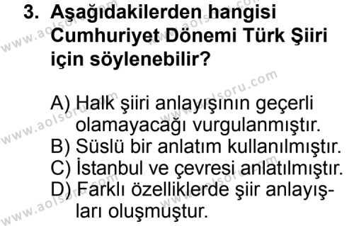 Türk Edebiyatı 7 Dersi 2014 - 2015 Yılı Ek Sınav Soruları 3. Soru