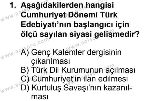 Türk Edebiyatı 7 Dersi 2015-2016 Yılı 1. Dönem Sınavı 1. Soru
