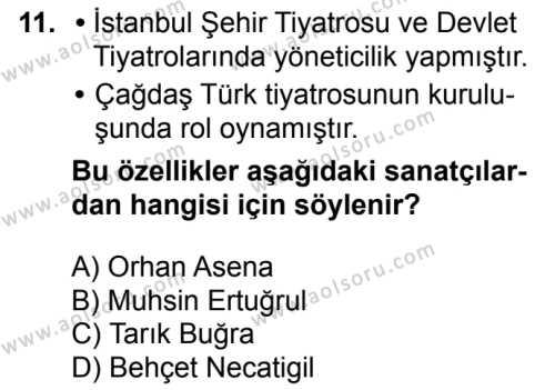 Türk Edebiyatı 7 Dersi 2016-2017 Yılı 1. Dönem Sınavı 11. Soru