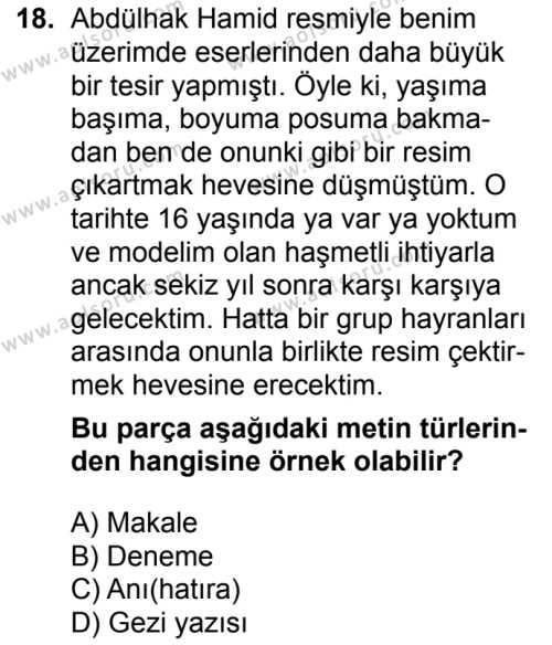 Türk Edebiyatı 7 Dersi 2017-2018 Yılı 1. Dönem Sınavı 18. Soru