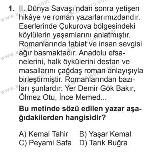 Türk Edebiyatı 7 Dersi 2017 - 2018 Yılı 2. Dönem Sınavı 1. Soru