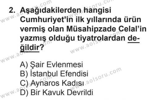 Türk Edebiyatı 7 Dersi 2017 - 2018 Yılı 2. Dönem Sınavı 2. Soru
