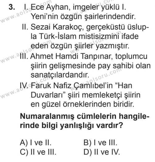 Türk Edebiyatı 7 Dersi 2017 - 2018 Yılı 2. Dönem Sınavı 3. Soru