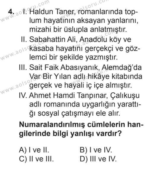 Türk Edebiyatı 7 Dersi 2017 - 2018 Yılı 2. Dönem Sınavı 4. Soru