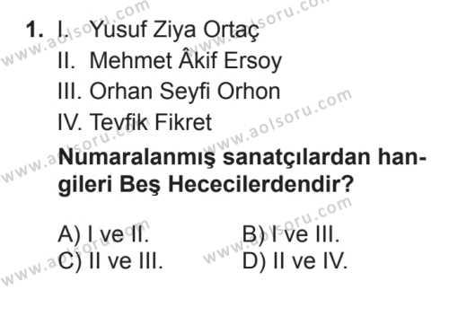 Türk Edebiyatı 7 Dersi 2017 - 2018 Yılı 3. Dönem Sınavı 1. Soru