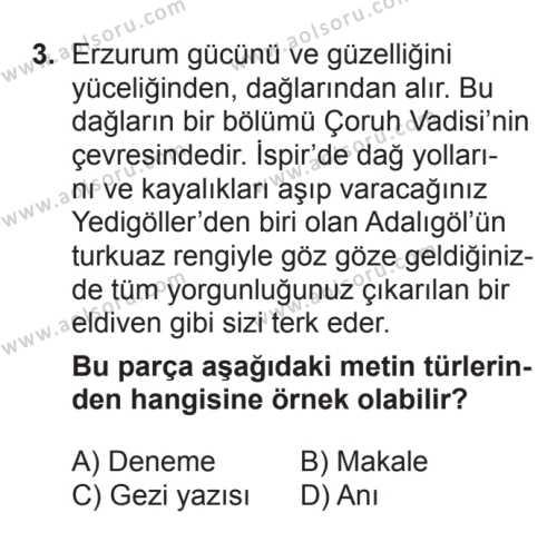 Türk Edebiyatı 7 Dersi 2017 - 2018 Yılı 3. Dönem Sınavı 3. Soru