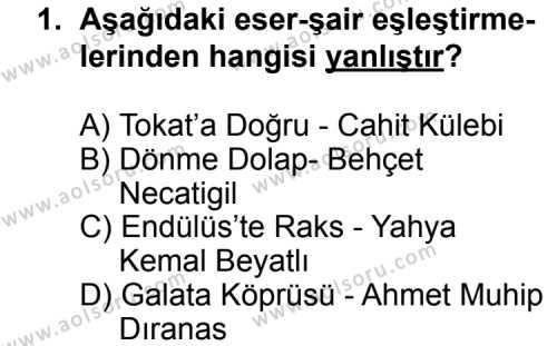 Türk Edebiyatı 8 Dersi 2011 - 2012 Yılı Ek Sınav Soruları 1. Soru