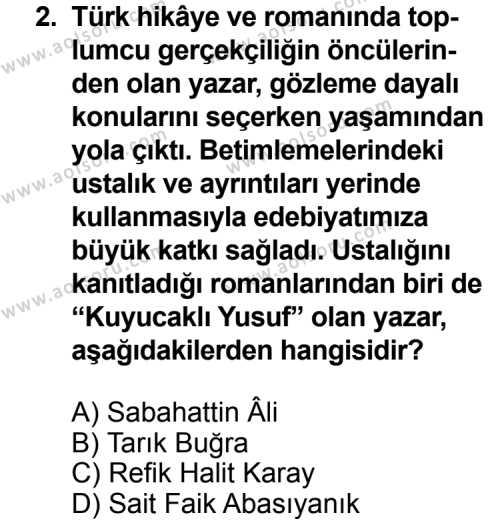Türk Edebiyatı 8 Dersi 2011 - 2012 Yılı Ek Sınav Soruları 2. Soru
