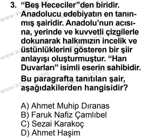 Türk Edebiyatı 8 Dersi 2011 - 2012 Yılı Ek Sınav Soruları 3. Soru